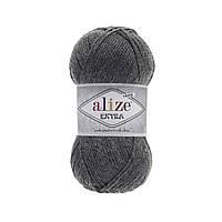 Пряжа Alize Extra (Ализе Екстра) 10% шерсть, темно-серый меланж 182