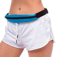 🔝 Поясная сумка с двумя карманами, GMJ-001 голубая, спортивная сумка ремень для тренировок  | 🎁%🚚