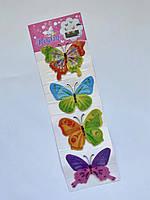 Интерьерная декоративная наклейка на стену бабочки 3д 3D (набор 4 шт), разноцветные яркие