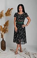 Красивое нарядное шифоновое платье А-силуэт ниже колен с  цветами 42,44,46,48,50,52