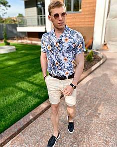 """Чоловіча сорочка """"Hawaii"""" - білий-синій"""