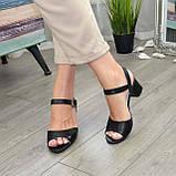 Кожаные женские босоножки на устойчивом каблуке, цвет черный., фото 2