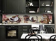 Виниловый кухонный фартук Кофе в зернах (скинали для кухни наклейка ПВХ) Напитки Бежевый 600*2500 мм