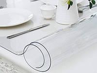 Мягкое стекло Прозрачная силиконовая скатерть на стол Soft Glass Защита для мебели 1.6х1.0 м (толщина 2мм)