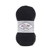 Пряжа Alize Extra (Ализе Екстра) 10% шерсть, черный 60