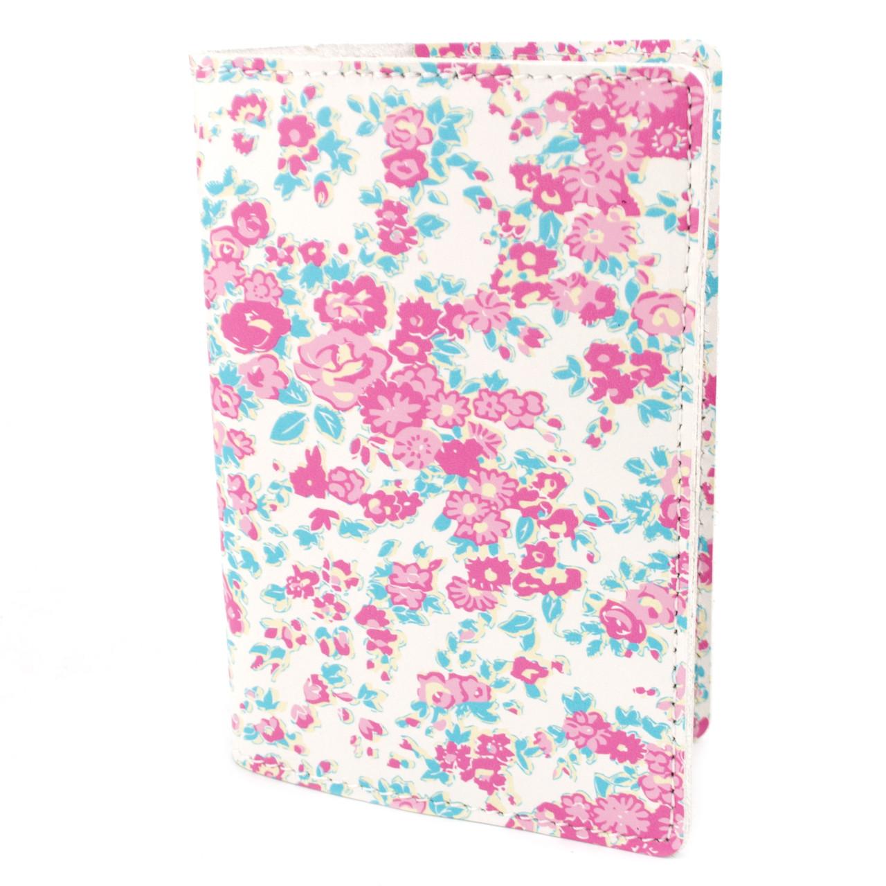 Кожаная обложка на паспорт Lika (белая в цветочек)