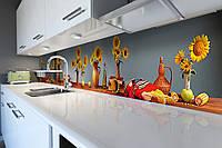 Виниловый кухонный фартук Подсолнухи в кувшинах (скинали для кухни наклейка ПВХ) Цветы Голубой 600*2500 мм