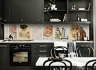 Виниловый кухонный фартук Винтажные Картины (скинали для кухни наклейка ПВХ) Коллаж Люди Бежевый 600*2500 мм