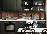 Виниловый кухонный фартук Мандарины в вазе (скинали для кухни наклейка ПВХ) цитрусы Еда Серый 600*2500 мм