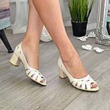Босоножки женские кожаные бежевые на невысоком устойчивом каблуке, фото 2