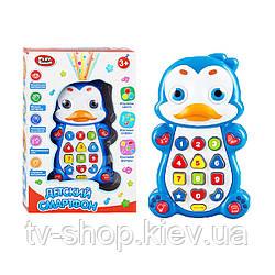 """Розвиваючий телефон на шнурку """"Пінгвін"""" Play Smart (світло,звук)"""