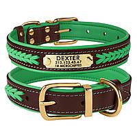 Ошейник для Собак Кожаный BronzeDog Premium с Литой Латунной Фурнитурой и Адресником Коричнево-Зеленый XL