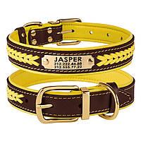 Ошейник для Собак Кожаный BronzeDog Premium с Литой Латунной Фурнитурой и Адресником Коричнево-Желтый L