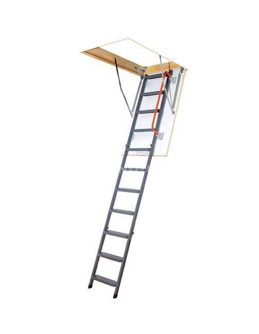 Металлическая трехсекционная чердачная лестница FAKRO LMP 144х86
