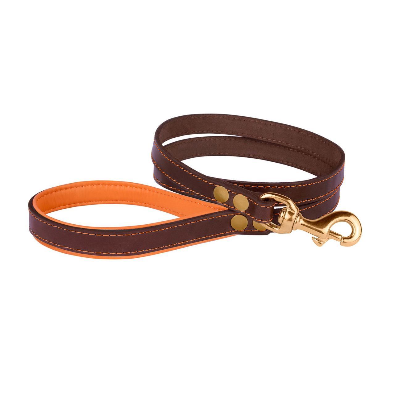 Поводок для Собак Кожаный BronzeDog Premium с Литой Латунной Фурнитурой Коричнево-Оранжевый S