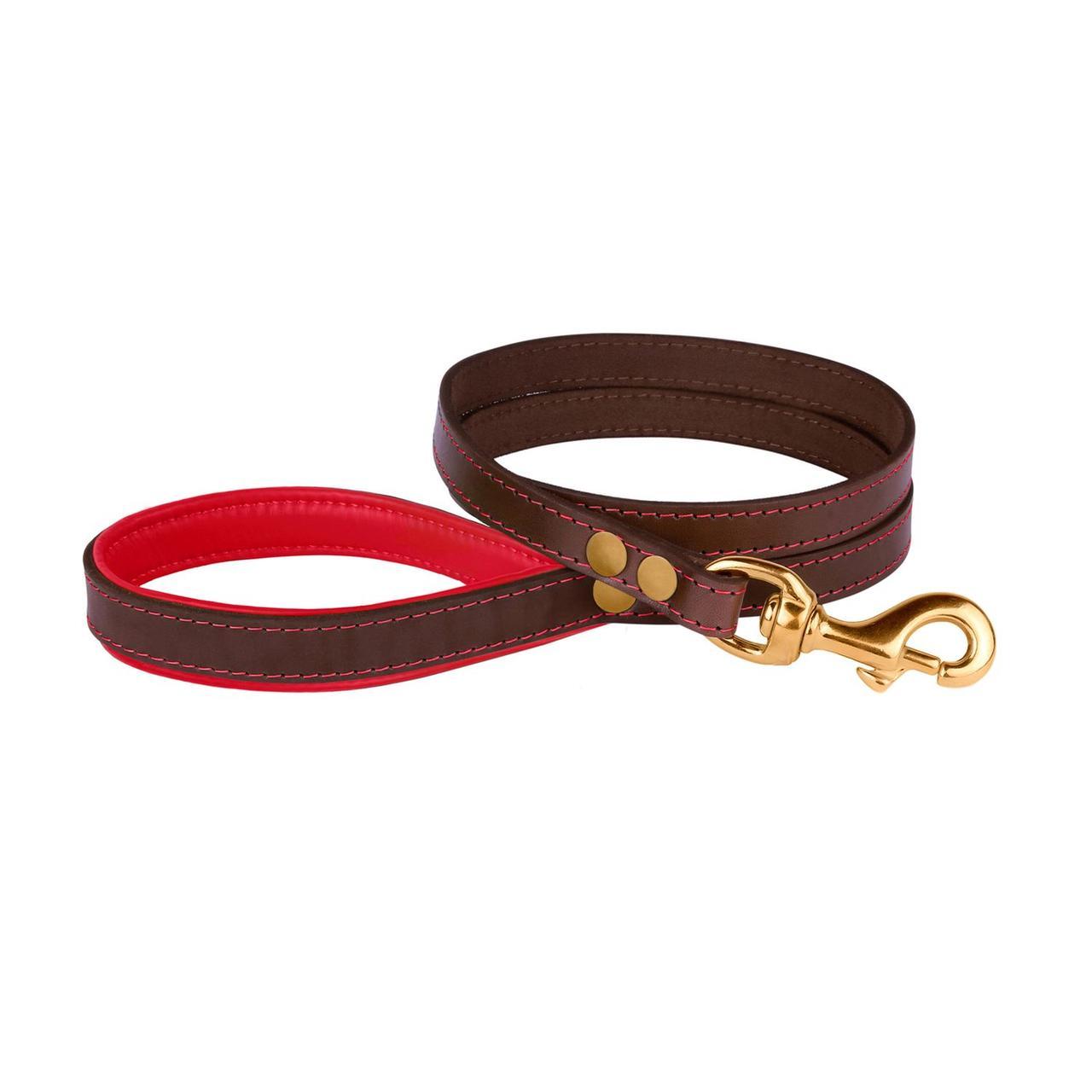 Поводок для Собак Кожаный BronzeDog Premium с Литой Латунной Фурнитурой Коричнево-Красный L