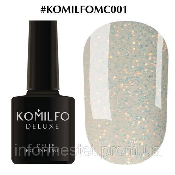 Гель-лак Komilfo Moon Crush 001 (золотые блесточки, прозрачный), 8 мл