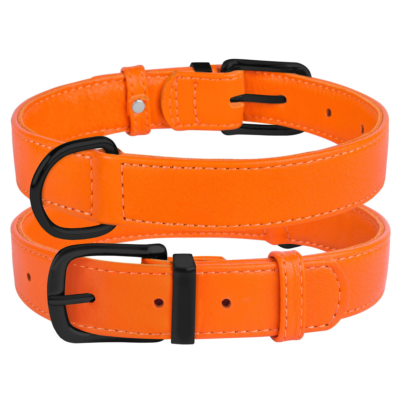 Ошейник для собак кожаный BronzeDog Premium без украшений оранжевый S