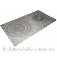 Плита чугунная 2-х конфорочная усиленная, 12 мм (земля), 71х41 см