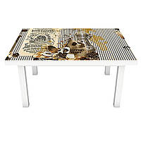 Наклейка на стол Zatarga «Lion Coffee» 600х1200мм для домов, квартир, столов, кофейн, кафе