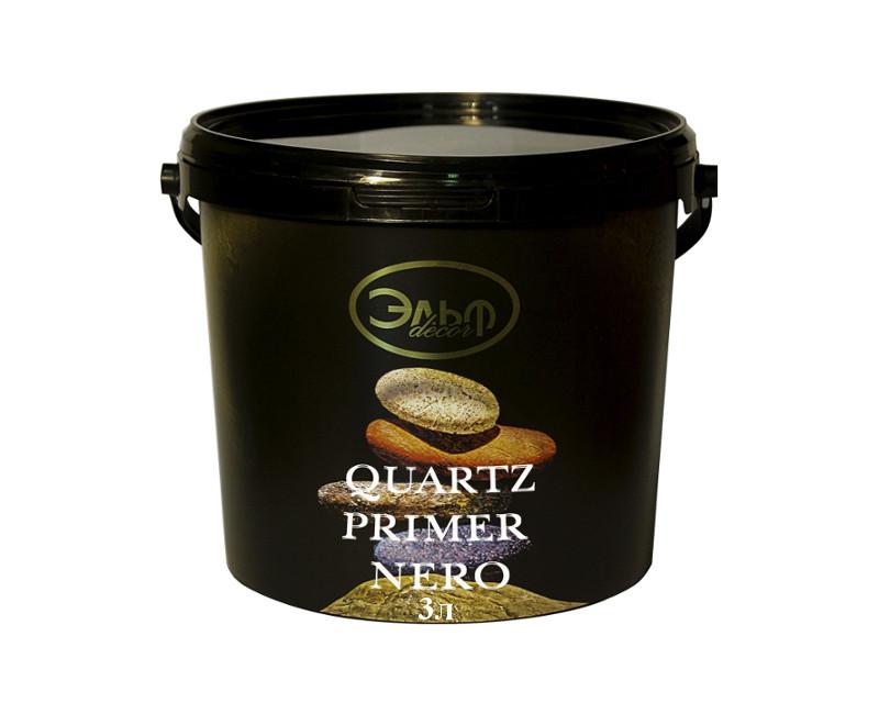 Грунт с кварцевым песком ELF DECOR QUARTZ PRIMER NERO для декоративных штукатурок темно-серый 3л