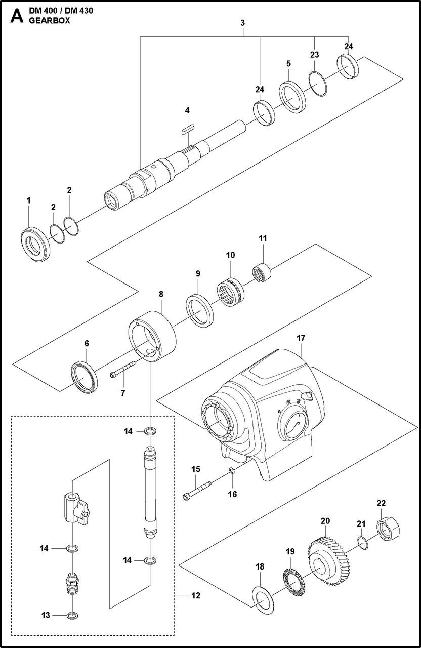 1 КОРОБКА ПЕРЕДАЧ   DM 400, 2020-02 бурильная машина Husqvarna   алмазное бурение  