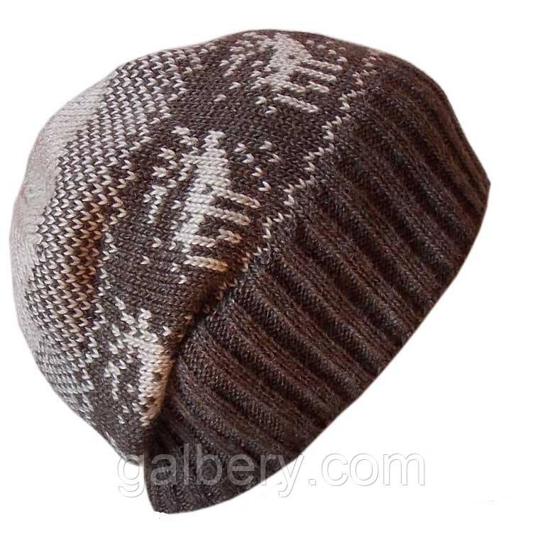 Мужская вязаная шапка-носок с норвежским орнаментом
