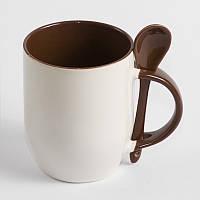 Чашка сублимационная с ложкой Коричневая