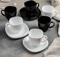 Сервіз чайний Carine-(B & W) 12 предметний: 6 чашок 220 мл, 6 блюдець 13,4 см, Luminarc.