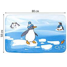 Детский антискользящий коврик для ванной  50х80 см. Tatkraft Penguins