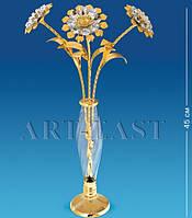 Ваза декоративная хрустальная с цветами AR-1165