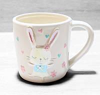 Чашка керамическая белая Зайка 360 мл, фото 1