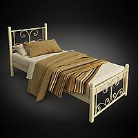Кровать металлическая односпальная Нарцис на деревянных ногах
