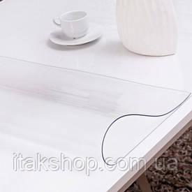 Силиконовое мягкое стекло Прозрачная защитная скатерть для стола и мебели Soft Glass (1.4х1.2м) толщина 2 мм
