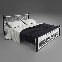 Кровать металлическая двуспальная Нарцис на деревянных ногах