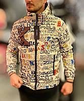 Белая мужская молодежная куртка с надписями реплика D&G с капюшоном лёгкая белая мужская ветровка