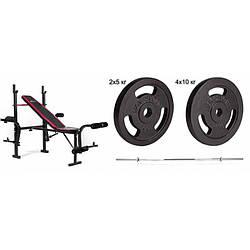 Штанга со скамьей 60 кг Hop-Sport Strong HS-1055 силовой набор для жима с металлическими блинами