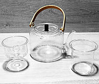 Стеклянный чайник-заварник Кракелюр 1000 мл