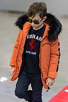 Детская зимняя теплая куртка оранжевая, фото 1