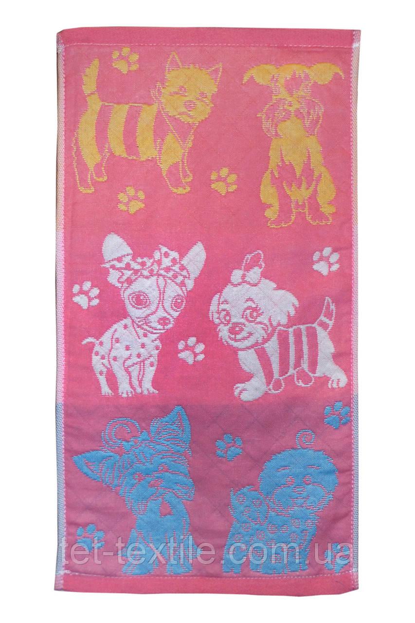 """Полотенце льняное для кухни с рисунком """"Собачки"""" розовое 25х45см."""