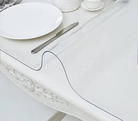 Силіконове м'яке скло Прозора захисна скатертини для столу і меблів Soft Glass (1.7х1.0м) товщина 2 мм