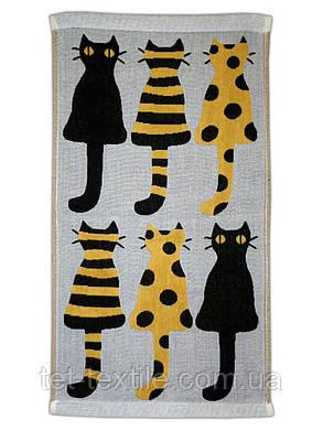 """Полотенце льняное для кухни с рисунком """"Коты"""" 3 цвета в ассортименте 25х45см., фото 2"""