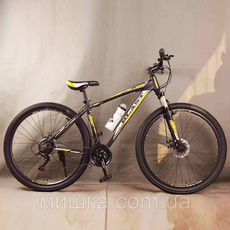 """Стильный алюминиевый спортивный велосипед BLAST-S300 27.5"""", рама 18"""", черно-желтый"""