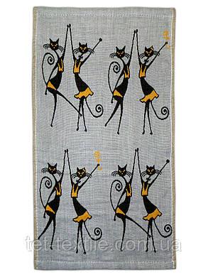 """Полотенце льняное для кухни с рисунком """"Кошки"""" 3 цвета в ассортименте, 25х45см., фото 2"""