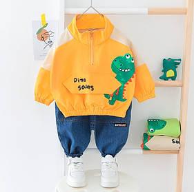 Стильный  костюм двойка  на мальчика с джинсами  весна-осень 1-3 года  Дино
