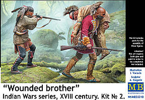 Набор фигур в масштабе 1/35 из серии Индейских войн, XVIII век. Раненный товарищ. MASTER BOX 35210