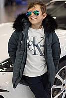 Детская зимняя теплая куртка серая милитари