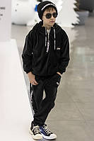 Велюровый черный теплый костюм на мальчика, фото 1