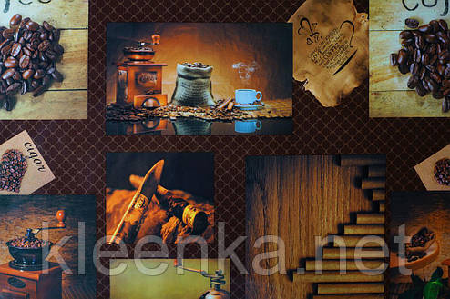 Клеенка на стол на тканевой основе рисунок Кофе в кафе, столовую, для дома, фото 2