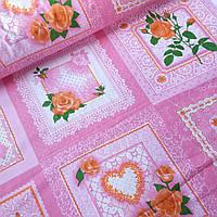 Ситец платочный женский розовый с розами, ш. 95 см, фото 1